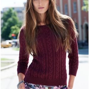 H&M CABLE-KNIT 3/4 SLEEVE SWEATER BURGUNDY NWT